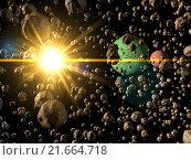 Астероидное поле. Стоковая иллюстрация, иллюстратор Михаил Уткин / Фотобанк Лори