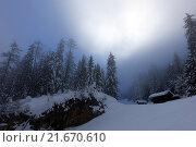 Купить «Krippenbrunn, Austria, snowy landscape with high fog», фото № 21670610, снято 4 февраля 2015 г. (c) Caro Photoagency / Фотобанк Лори