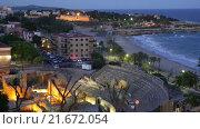 Купить «The Roman amphitheater in night. Tarragona, Spain», видеоролик № 21672054, снято 22 октября 2015 г. (c) Яков Филимонов / Фотобанк Лори