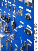 Купить «New cordage assortment on stand close up», фото № 21672150, снято 23 января 2019 г. (c) Яков Филимонов / Фотобанк Лори