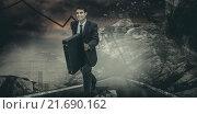 Купить «Composite image of smiling businessman in a hurry», фото № 21690162, снято 17 декабря 2018 г. (c) Wavebreak Media / Фотобанк Лори