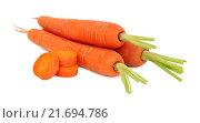 Купить «Пучок спелой моркови с обрезанной ботвой и кусочками (изолированно на белом фоне)», фото № 21694786, снято 6 декабря 2019 г. (c) Самохвалов Артем / Фотобанк Лори