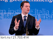 Купить «British Chancellor of the Exchequer George Osborne during the meeting Italy and the UK addressing global challenges in a reformed EU, organizated by Aspen Insititute Italy, Rome, ITALY-03-02-2016.», фото № 21703414, снято 3 февраля 2016 г. (c) age Fotostock / Фотобанк Лори
