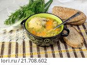Купить «Куриный, гороховый суп в миске», фото № 21708602, снято 4 февраля 2016 г. (c) Татьяна Ляпи / Фотобанк Лори