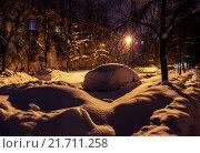 Зимний город спит. Стоковое фото, фотограф Евгений Рухмалев / Фотобанк Лори