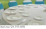Купить «Сервировка стола», видеоролик № 21711970, снято 18 июня 2015 г. (c) Denis Mishchenko / Фотобанк Лори