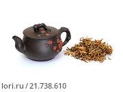Купить «Чайник и желтый чай», фото № 21738610, снято 8 февраля 2016 г. (c) Дмитрий Крамар / Фотобанк Лори