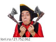 Купить «Funny pirate isolated on the white», фото № 21752062, снято 29 сентября 2015 г. (c) Elnur / Фотобанк Лори
