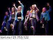 Купить «A group of teenage girls performing choreographed modern urban dance routines on stage at Aberystwyth Arets Centre Wales UK.», фото № 21753122, снято 22 апреля 2018 г. (c) age Fotostock / Фотобанк Лори