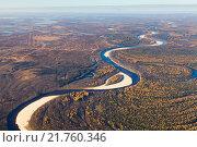 Купить «Tundra river in autumn, top view», фото № 21760346, снято 25 сентября 2015 г. (c) Владимир Мельников / Фотобанк Лори