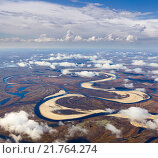 Купить «Tundra river in autumn, top view», фото № 21764274, снято 24 сентября 2015 г. (c) Владимир Мельников / Фотобанк Лори