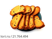 Купить «Сладкие сухари с изюмом на тарелке», фото № 21764494, снято 10 февраля 2016 г. (c) Дмитрий Крамар / Фотобанк Лори