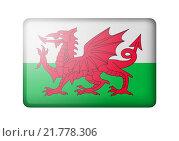 Купить «Флаг Уэльса на белом фоне», иллюстрация № 21778306 (c) Александр Макаров / Фотобанк Лори