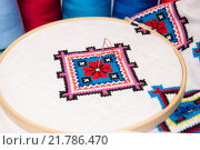 Купить «The fabric in the hoop with embroidery», фото № 21786470, снято 17 октября 2018 г. (c) PantherMedia / Фотобанк Лори