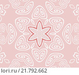 Купить «Abstract geometric seamless background. Ornate and dreamy spiral pattern. Scrolled white floral ornaments with red star pattern on pink. Delicate drawing.», иллюстрация № 21792662 (c) PantherMedia / Фотобанк Лори