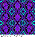 Купить «Abstract geometric background, seamless diamond pattern purple and turquoise on black, ornate and extensive», иллюстрация № 21792762 (c) PantherMedia / Фотобанк Лори