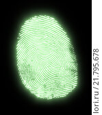 Купить «glowing fingerprint», фото № 21795678, снято 23 мая 2019 г. (c) PantherMedia / Фотобанк Лори