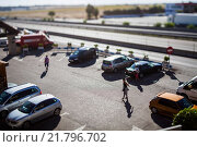 Купить «Guadalajara, Spain, parking on a highway», фото № 21796702, снято 12 августа 2010 г. (c) Caro Photoagency / Фотобанк Лори