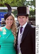 Ascot, United Kingdom, A. P. McCoy, a former jockey and his wife Chanelle (2015 год). Редакционное фото, агентство Caro Photoagency / Фотобанк Лори