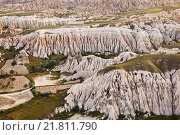 Rocks in Rose Valley of Goreme National Park in Central Anatolia, Turkey.Top view (2015 год). Стоковое фото, фотограф Наталья Волкова / Фотобанк Лори