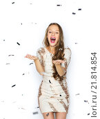 happy young woman or teen girl in fancy dress. Стоковое фото, фотограф Syda Productions / Фотобанк Лори