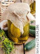 Купить «Pickled cucumbers in glass jar. Healthy food», фото № 21834286, снято 26 марта 2019 г. (c) BE&W Photo / Фотобанк Лори