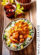 Купить «Chicken curry with basmati rice and green peas, dish popular in India.», фото № 21834510, снято 16 декабря 2019 г. (c) BE&W Photo / Фотобанк Лори