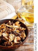 Купить «Bowl of potpourri - mixture of dried, naturally fragrant plants. Relax time», фото № 21834534, снято 19 декабря 2018 г. (c) BE&W Photo / Фотобанк Лори