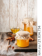 Купить «Jar of honey on wooden table. Healthy food», фото № 21834734, снято 16 августа 2018 г. (c) BE&W Photo / Фотобанк Лори