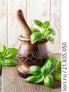 Купить «Wooden mortar and basil leaves on the table. Healthy food», фото № 21835050, снято 6 июля 2020 г. (c) BE&W Photo / Фотобанк Лори