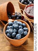 Купить «Blueberries in ceramic bowl. Summer dessert», фото № 21835078, снято 19 октября 2018 г. (c) BE&W Photo / Фотобанк Лори