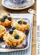 Купить «Cupcakes with vanilla cream and blueberries. Party dessert», фото № 21835086, снято 23 октября 2019 г. (c) BE&W Photo / Фотобанк Лори