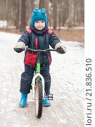 Купить «Маленький мальчик на велосипеде в зимнем парке», фото № 21836510, снято 14 февраля 2016 г. (c) Сергей Пинаев / Фотобанк Лори