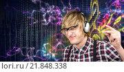 Купить «Composite image of cheerful blond hipster listening to music», фото № 21848338, снято 25 июня 2019 г. (c) Wavebreak Media / Фотобанк Лори