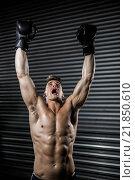Купить «Shirtless man with boxing gloves cheering», фото № 21850610, снято 18 сентября 2015 г. (c) Wavebreak Media / Фотобанк Лори