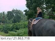 Купить «Женщина едет на индийском слоне через джунгли, Hikkaduwa, Шри-Ланка, Южная Азия», фото № 21863718, снято 14 декабря 2018 г. (c) Некрасов Андрей / Фотобанк Лори
