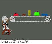 Человек поворачивает ручку конвейера багажа. Стоковая иллюстрация, иллюстратор Фомичёв Роман / Фотобанк Лори