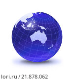 Купить «Earth globe stylized, in blue color, shiny and with white glowing grid. On white surface with dropped shadow. Oceania view.», фото № 21878062, снято 19 октября 2019 г. (c) PantherMedia / Фотобанк Лори