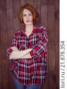 Купить «beautiful hipster woman with her arms crossed», фото № 21878354, снято 8 октября 2015 г. (c) Wavebreak Media / Фотобанк Лори