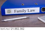 Купить «Family Law blue binder in the office», фото № 21882382, снято 16 июня 2019 г. (c) PantherMedia / Фотобанк Лори