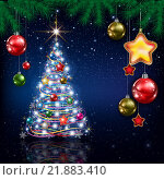 Купить «Celebration greeting with Christmas tree and snowflakes», иллюстрация № 21883410 (c) PantherMedia / Фотобанк Лори
