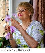 Купить «Пожилая женщина у окна с  орхидеей в цветочном горшке», фото № 21890298, снято 19 января 2016 г. (c) Ирина Быстрова / Фотобанк Лори