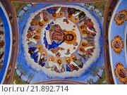 Внешняя роспись церкви с Сокольском монастыре в Болгарии (2015 год). Стоковое фото, фотограф Елена Ненова / Фотобанк Лори