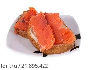 Купить «Бутерброды с красной рыбой на тарелке, изолированно на белом фоне», фото № 21895422, снято 31 декабря 2015 г. (c) Литвяк Игорь / Фотобанк Лори