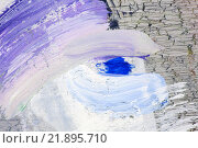 Купить «Синее пятно краски на белых мазках», фото № 21895710, снято 12 ноября 2014 г. (c) Elizaveta Kharicheva / Фотобанк Лори
