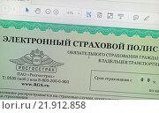 Купить «Электронный страховой полис на экране компьютера», эксклюзивное фото № 21912858, снято 23 февраля 2016 г. (c) Volgograd.travel / Фотобанк Лори
