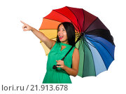 Купить «Woman with umbrella isolated on white», фото № 21913678, снято 10 августа 2015 г. (c) Elnur / Фотобанк Лори