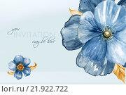 Акварельный шаблон открытки с цветами индиго. Ручная работа. День рождения, 8 марта, Свадебная открытка. Стоковая иллюстрация, иллюстратор Федюшина Анна / Фотобанк Лори