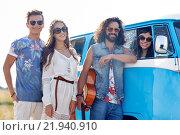 Купить «smiling young hippie friends over minivan car», фото № 21940910, снято 27 августа 2015 г. (c) Syda Productions / Фотобанк Лори