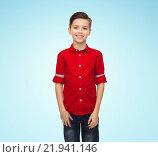 Купить «happy boy in red shirt», фото № 21941146, снято 9 января 2016 г. (c) Syda Productions / Фотобанк Лори